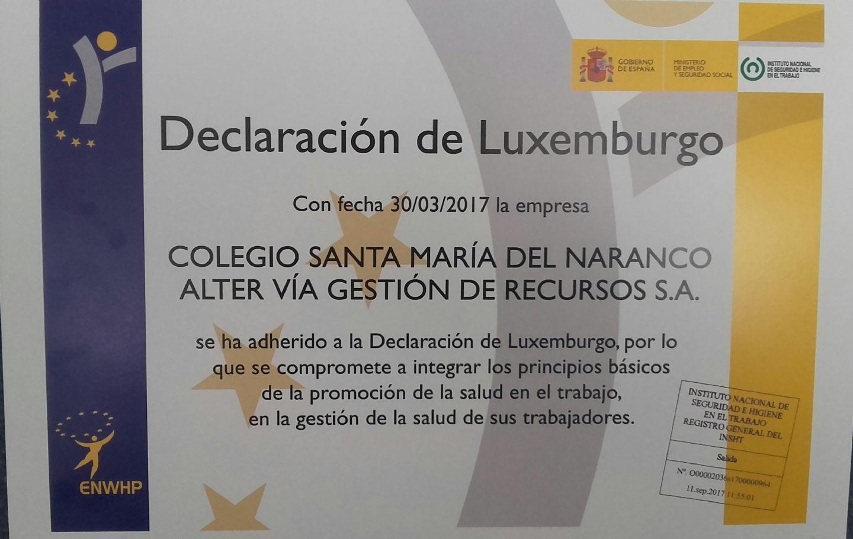 ADhesión Declaración de Luxemburgo Colegio Sta María del Naranco