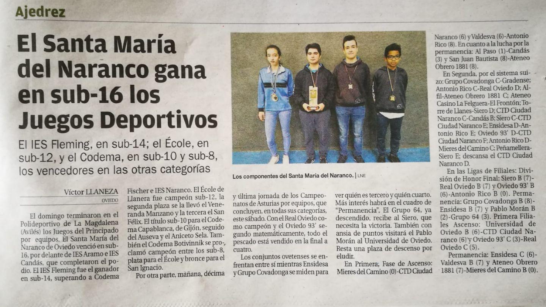 (12/04/2019): La Nueva España: El Santa María del Naranco gana en sub-16 los Juegos Deportivos