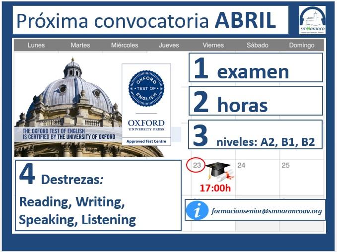 Colegio Concertado Oviedo Santa María del Naranco convocatoria 2021 oxford test of english