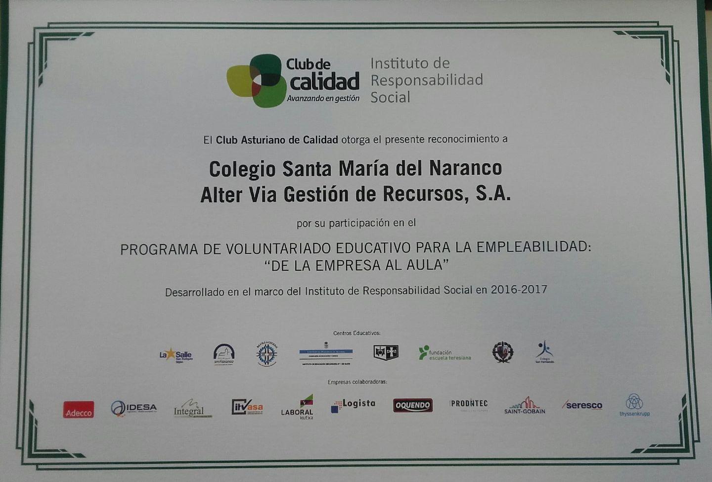 Programa de Voluntariado Colegio Sta. María del Naranco